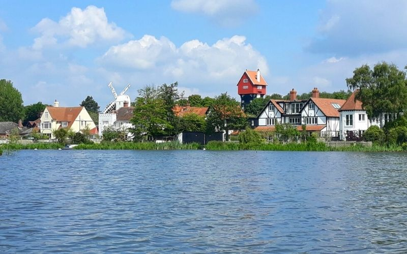 View of the House in the Clouds in Thorpeness from Thorpeness Meare.