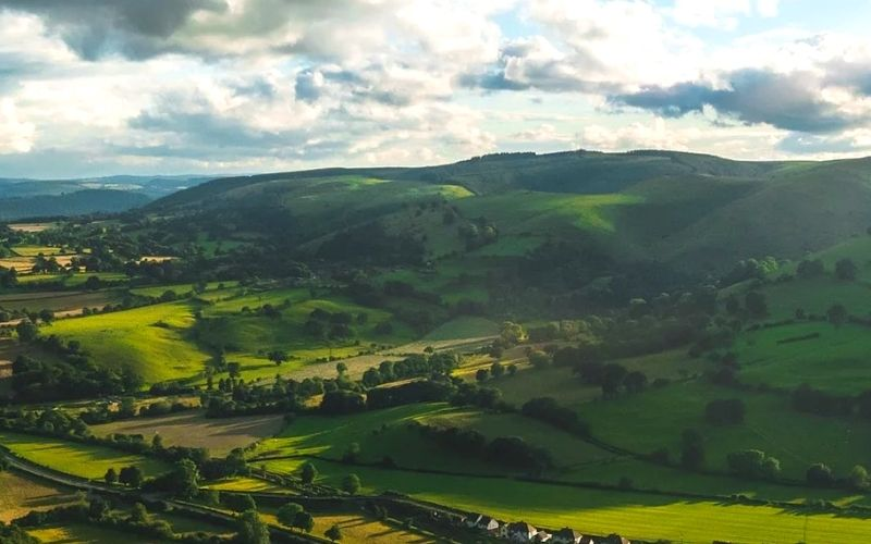 Views of the Shropshire Hills at Hamperley Hideaway campsites with ensuite facilities.