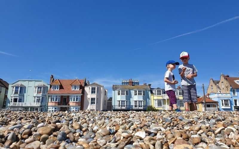 collecting stones on Aldeburgh Beach.
