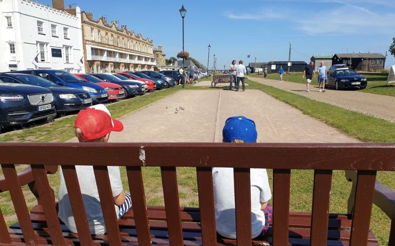 watching a game of boules in Aldeburgh.