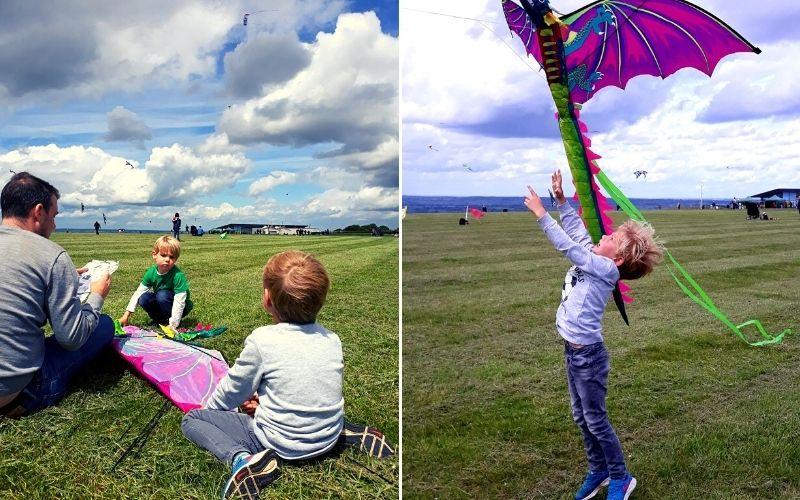 Flying kites at Dunstable Downs.