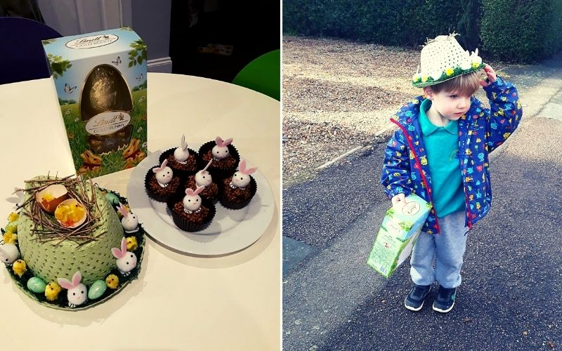 Home made Easter bonnets and Easter treats.