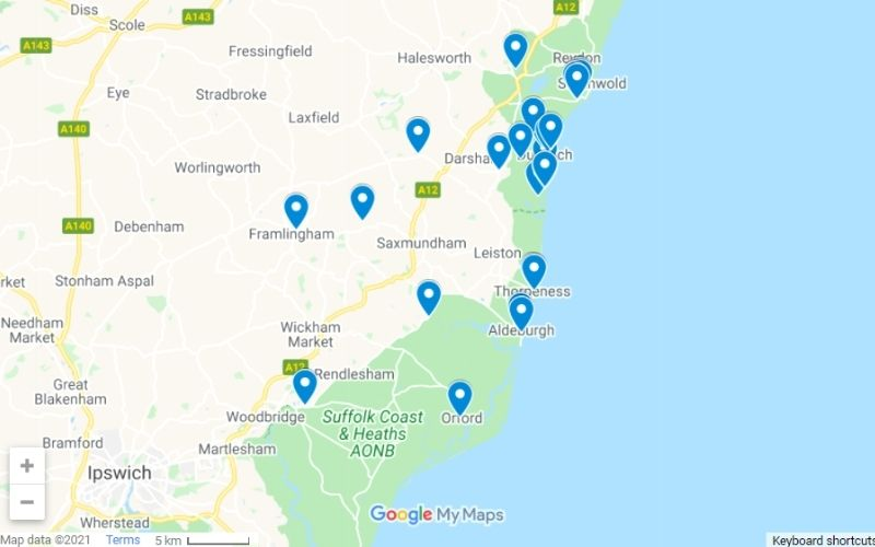 Map of things to do in Dunwich and the surrounding area.