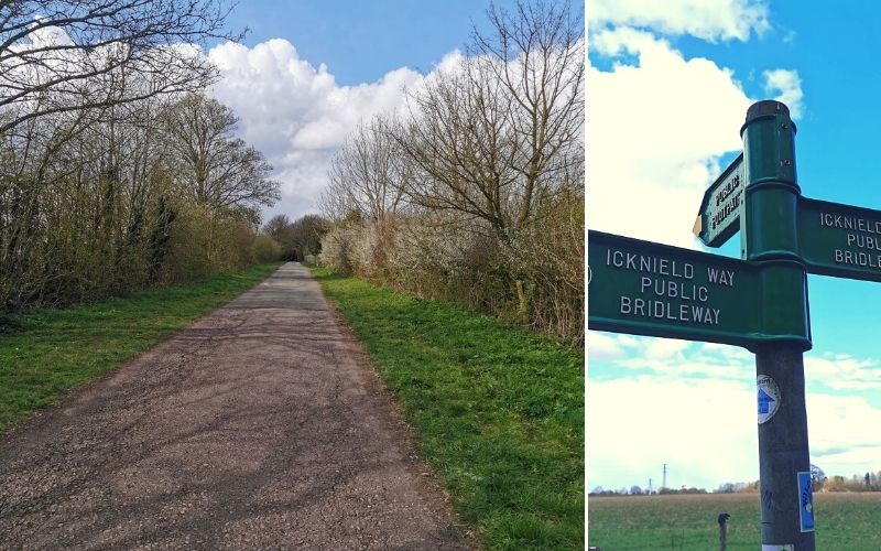 The Icknield Way between Whipsnade Tree Cathedral and Dunstable Downs in Bedfordshire.