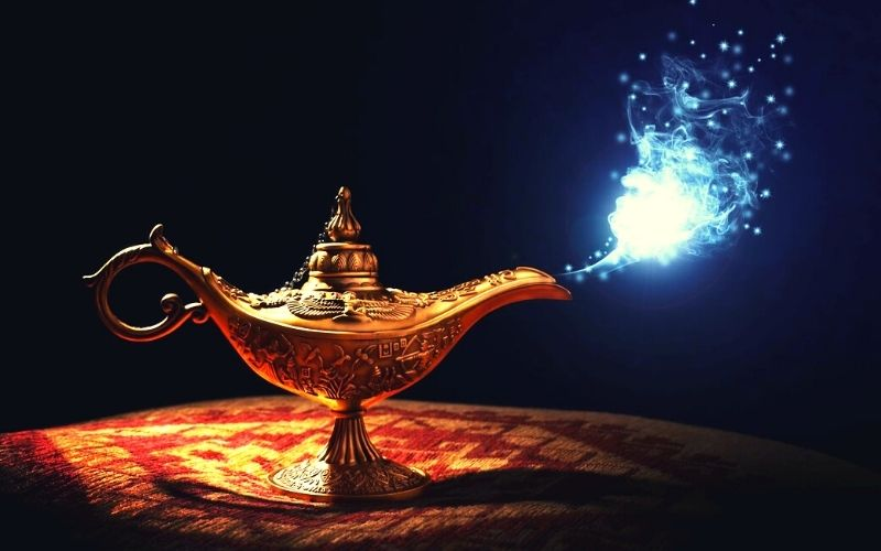 Aladdin's lamp in a Christmas panto - one of the best Christmas events in Hertfordshire