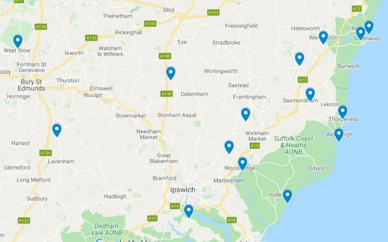 Map of the unusual places to stay in Suffolk.