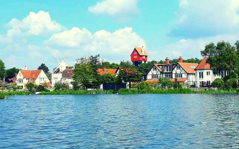 The House in the Clouds in Thorpeness overlooking Thorpeness Meare.