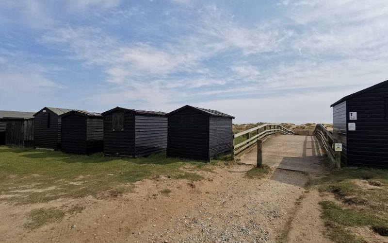 Traditional fishermen's huts at Walberswick beach.