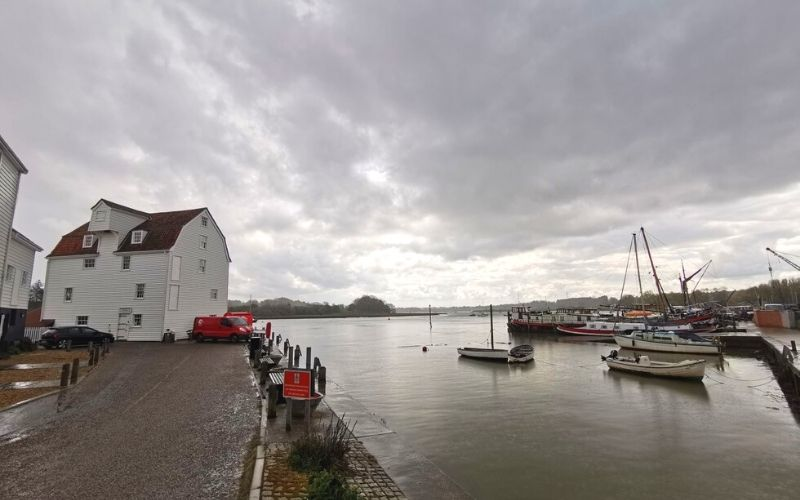 Woodbridge Tide Mill and boats in the harbour.