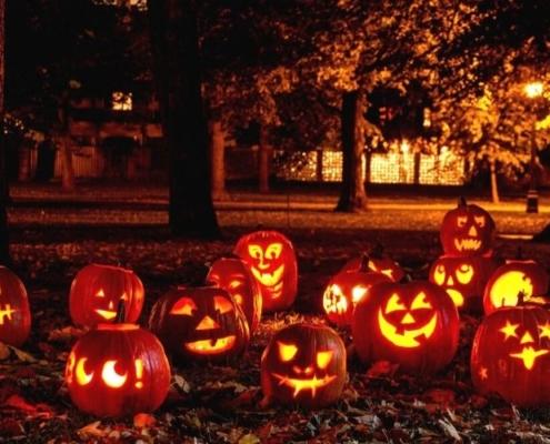 Carved pumpkin lanterns.