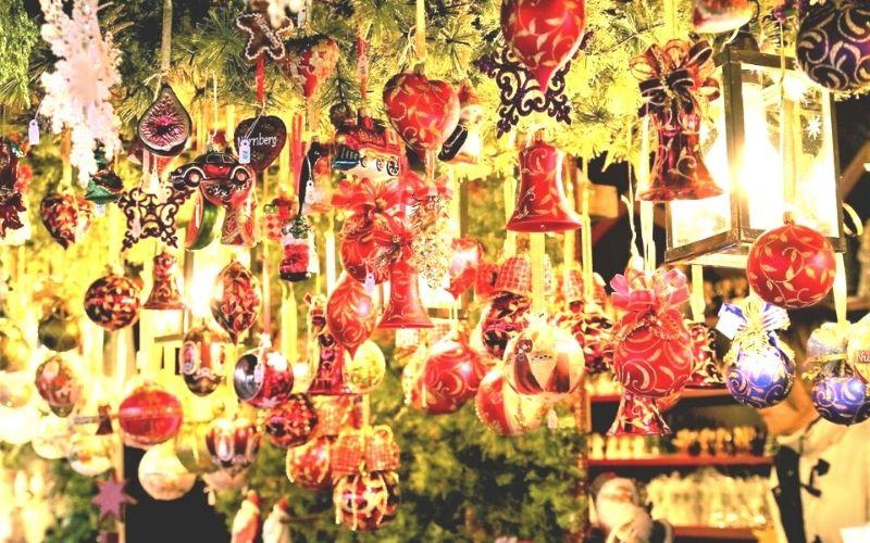 Christmas decorations on a Christmas market stall
