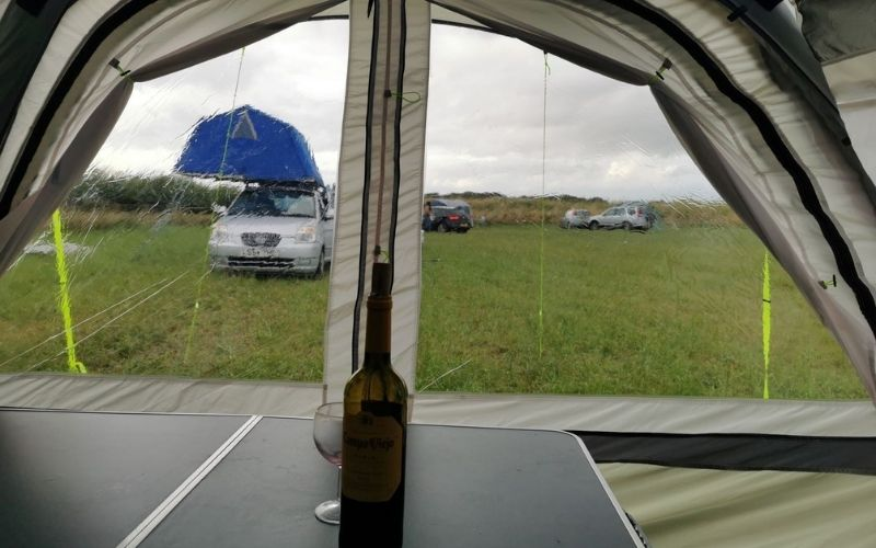 Front windows of the Olpro Cocoon Breeze air awning