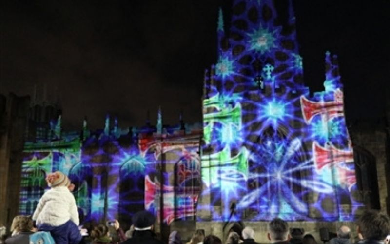 Peterborough Caethedral sound and light show.