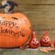 Pumpkin decorated with Happy Halloween.