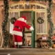 Santa visiting children on Christmas Eve.