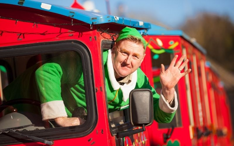 Elf driving a train at Kent Life Christmas events in Kent.