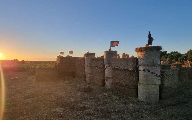 Straw bale Halloween castle maze.